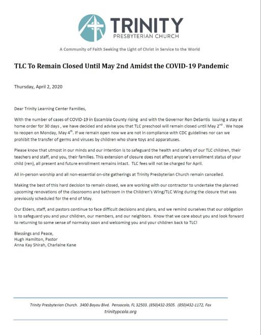 2020 April 2 TLC Letter to Parents